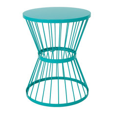 """Fern Outdoor 16"""" Iron Side Table, Matte Teal"""