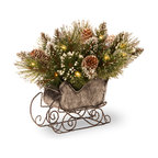 """10"""" Glittery Bristle Pine Sleigh With Battery Operated Warm White LED Lights"""
