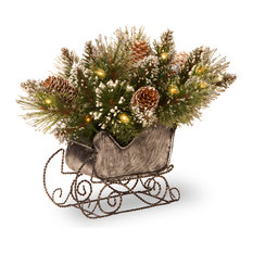 """National Tree Company - 10"""" Glittery Bristle Pine Sleigh With Battery Operated Warm White LED Lights - Holiday Accents and Figurines"""