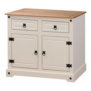Traditional Sideboard, Cream Painted Solid Wood With 2-Door 2 Storage Drawers