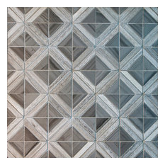Triangle With Strip Marble Mosaic Tile, Wood Gray With Beige Insert, 10 Sheets