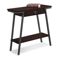 Leick Empiria Single Drawer Console Table In Walnut And Foundry Bronze