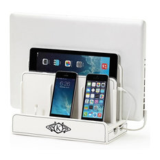 Monogrammed Multi-Device Charging Station And Dock, Art Deco, White, T