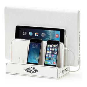 "Monogrammed SMART Multi-Device Charging Station W/ USB+AC Power Hub, Deco, ""M"""