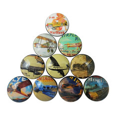 Vintage Style Airplane Cabinet Knobs, 10-Piece Set