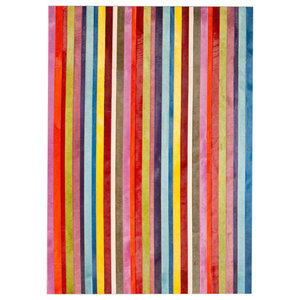 Patchwork Leather Cowhide Rug, Vertical Stripes, 140x200 Cm