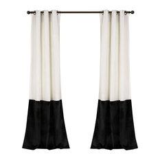 Prima Velvet Color Darkening Window Curtain, White/Black Set, 38x84