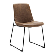 Modern Contemporary Dining Vinyl Side Chair, Brown, Vinyl Leather