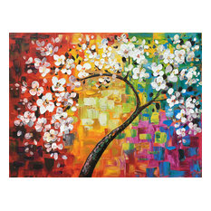 """Rainbow Blossoms"" Hand Painted Canvas Art"