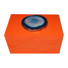 Grand Agate Lacquer Box, Orange and Blue