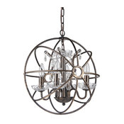 """Dover 4-Light Antique Bronze Globe Cage Chandelier With Crystals, 16"""""""
