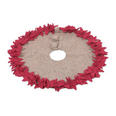 NOVICA - Novica Burgundy Poinsettias Wool Felt Tree Skirt - Christmas Tree Skirts