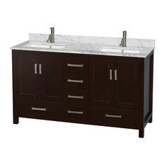 "Sheffield 60"" Double Espresso Bathroom Vanity, White Marble Top, No Mirror, Squa"