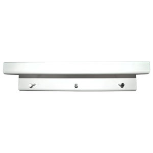 Oakley Wall Mounted Floating Shelf With Hooks, White, 45 cm