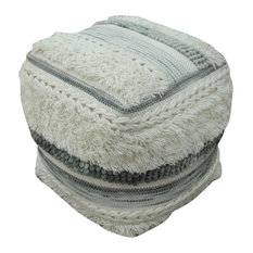 GDF Studio Curry Boho Wool Pouf, Ivory/Gray
