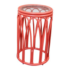 Cuba Accent Table With Glass, Coral, Set