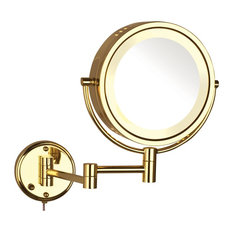 Modern Brass Wall Mounted Lighted Make Up Mirror