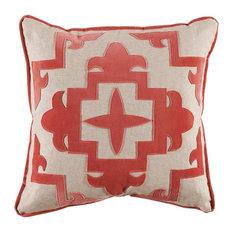Sultana Applique Coral Velvet Pillow