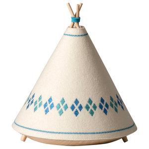 Tipi Table Lamp, Blue Diamonds