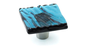"Glazed Wave Glass Knobs and Pulls, Steel Blue, 1.5"" Square"