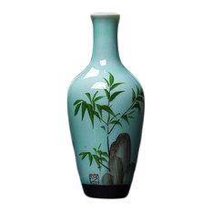 Creative Vase Hand-painted Chinese Vase Home,Decor Vase, Bamboo