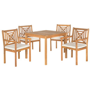 Safavieh Marseille Outdoor Living Set, 5-Piece, Teak Brown and Ecru, Teak Brown
