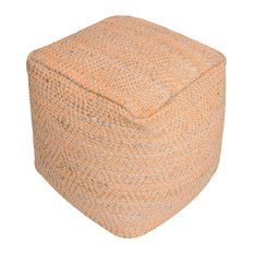 GDF Studio Maja Artisan Fabric Cube Pouf, Orange