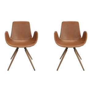 City Faux Leather Chairs, Set of 2, Tan