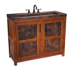1st Avenue   Scarborough Rustic Wooden Bathroom Vanity With Handcrafted Copper  Sink   Bathroom Vanities And