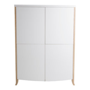 White and Oak 4-Door China Cabinet