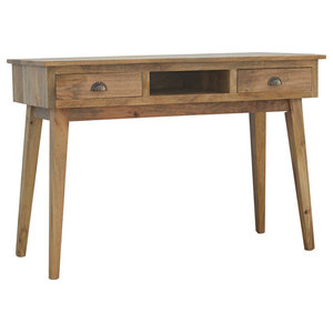 Mango Wood Writing Desk with 2 Drawers and Open Slot