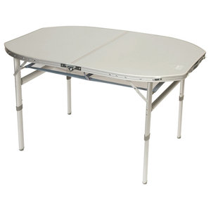 Camp Gear Folding Camping Table, Oval, White Aluminium