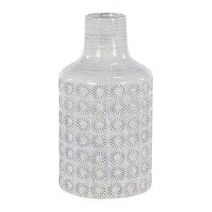 Round Ceramic Floor Vase W/ French Country Rosette Relief Design