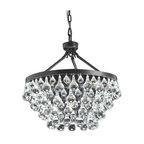 Modern-Style Glass Crystal 5-Light Chandelier, Antique Bronze