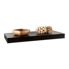 Southern Enterprises - Chicago Floating Shelf, Black - Display and Wall Shelves