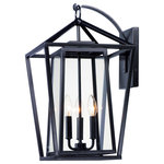 Maxim Lighting - Artisan 3-Light Outdoor Wall Sconce - This frame inside a frame design is the perfect update to this classically inspired outdoor lantern. Durable stainless steel construction is finished in Black and supports an inner frame of Clear panels of glass for a crisp and clean appearance.