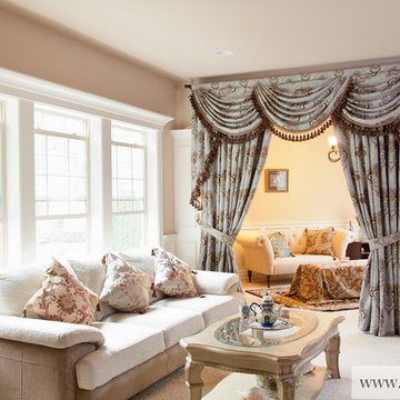 Bleu Fleur De Lis Valance Curtains with Swags and Tails