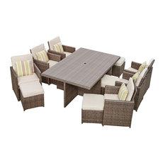 Alana Brown 11 Piece Outdoor Patio Furniture Dining Set ...