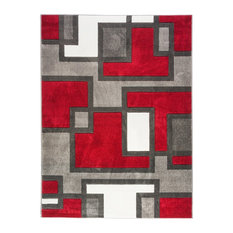 "Well Woven Ruby Imagination Squares Rug, Red, 7'10""x9'10"""