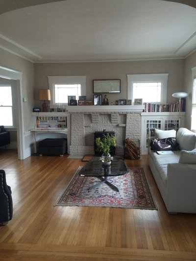 White And Gray Paint Scheme Brightens A New Living Room Layout