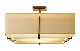 """24"""" Exos Mahogany Double Shade Semi-Flush, Natural Linen and Natural Linen Shade"""