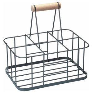 Modern Bottle Carrier in Silver Finished Wire Metal, 6 Bottles Capacity