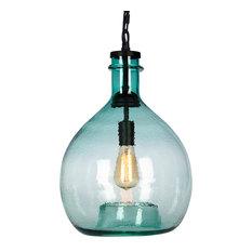 Green glass mini pendant lighting houzz casamotion wavy hammered hand blown glass pendant light 1 celling hanging light green aloadofball Choice Image