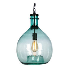 50 most popular green pendant lights for 2018 houzz casamotion wavy hammered hand blown glass pendant light 1 celling hanging light green aloadofball Image collections