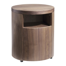 Alexandra Furniture - Round Walnut Wood Bedside Table - Nightstands And Bedside Tables