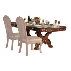 Acme Dresden Pedestal Dining Table, Brown Cherry Oak 12150