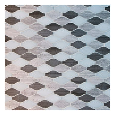 "Wave Pattern Marble Mosaic Tiles 12""x12"", Wood Gray, Dark Gray and Danba White,"