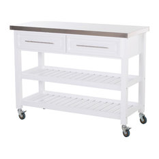 HOMCOM Rolling Kitchen Island Cart With Drawers Shelves And Stainless Steel