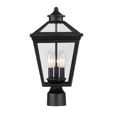 3-Light Modern Farmhouse Outdoor Post Lantern Black With Clear Glass