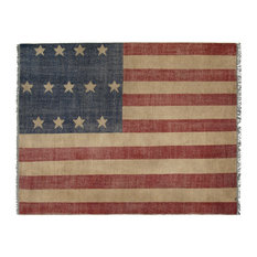 EORC Hand-knotted Wool Red Casual Flag American Flag Rug, Rectangular 5'x8'